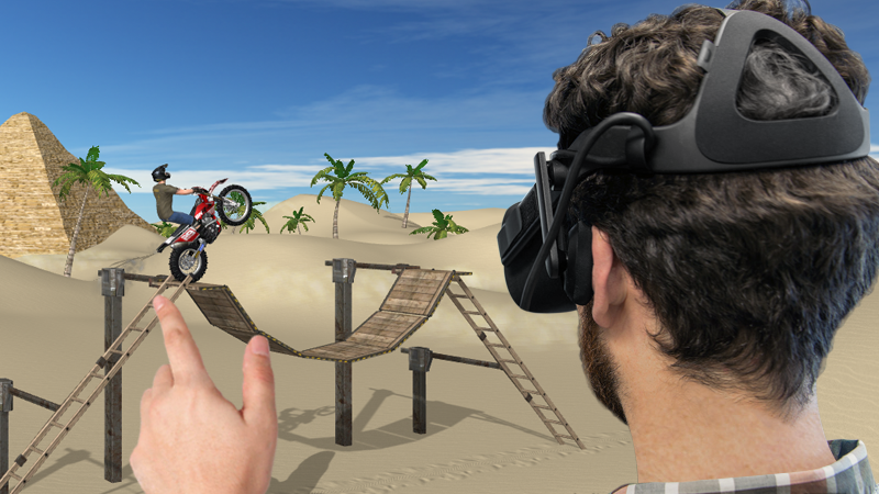 When you put on your VR headset your brain gets hacked. Automatically, you feel fully immersed in a Motorbike landscape, surrounded by mountains and the blue sky with cotton clouds, you can hear the wind blowing, birds and waterfalls around. In front of you is the whole track, all obstacles and the rider on the bike, ready to run.
